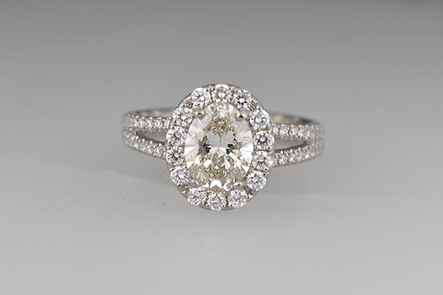 Oval Cut Diamond Ring, in 14k White Gold