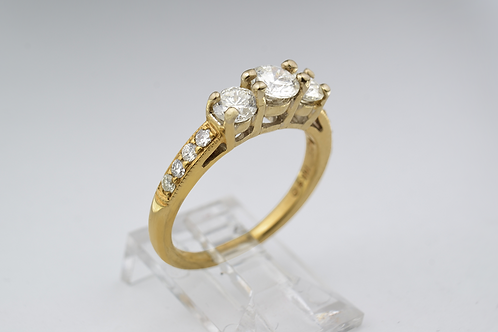 3-Stone Diamond Ring, in 14k Yellow Gold
