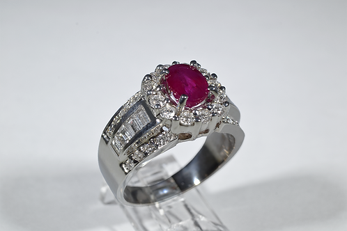 Brilliant Ruby and Diamond Cocktail Ring in 14k White Gold