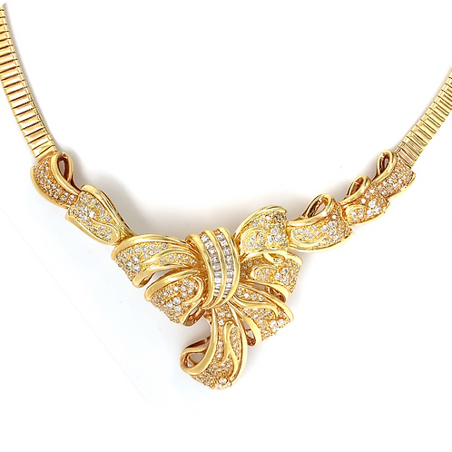 Diamond Bow Necklace Set in 18k Yellow Gold