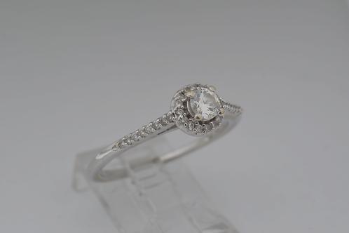 Thin Diamond Halo Ring, in 14k White Gold