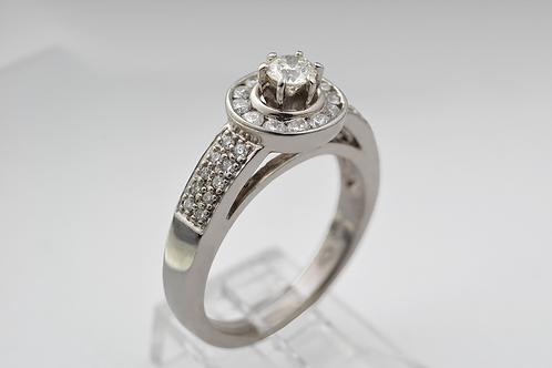 Halo Diamond Ring, in 14k White Gold