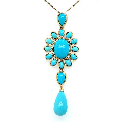 Sleeping Beauty Turquoise Pendant, in 14k Yellow Gold