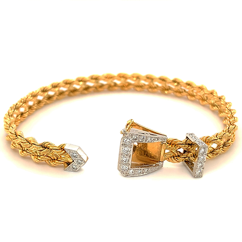 Diamond Buckle Bracelet, Set in 14k Two Tone Gold