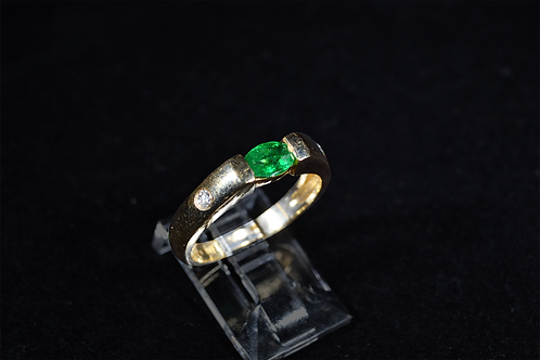 Emerald and Diamond Band, in 14k Yellow Gold