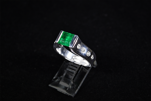 Muzo Emerald and Diamond Ring, Set in 14k White Gold