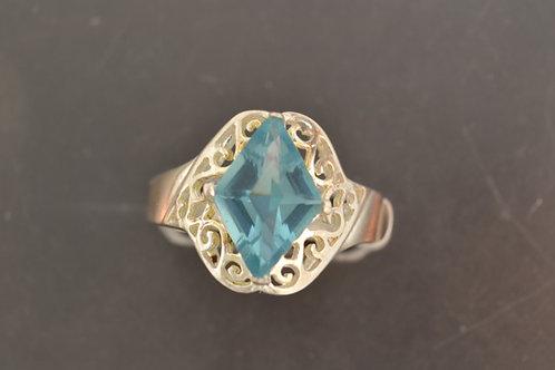 Blue Topaz Ring, in Sterling Silver
