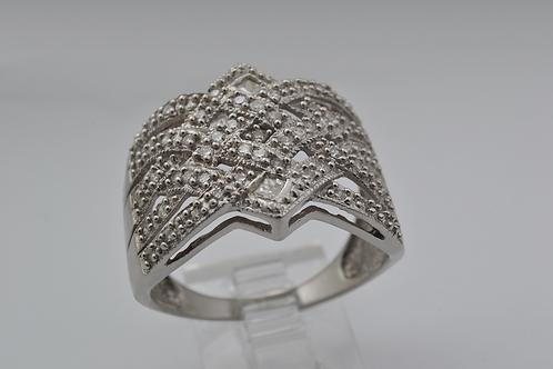 Statement Diamond Band, Set in 10k White Gold