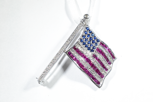 Sapphire, Ruby, & Diamond American Flag Pin in 14k White Gold