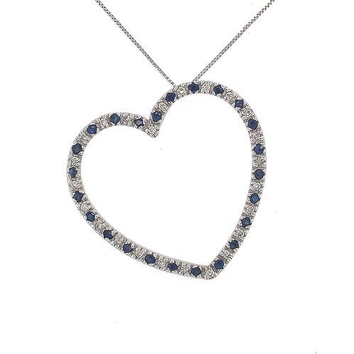 Sapphire and Diamond Pendant, Set in 14k White Gold