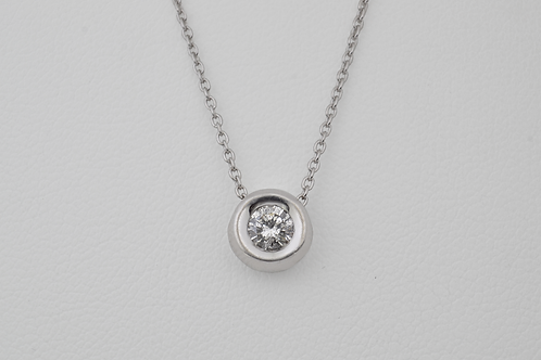 Diamond Solitaire Pendant, in 14k White Gold