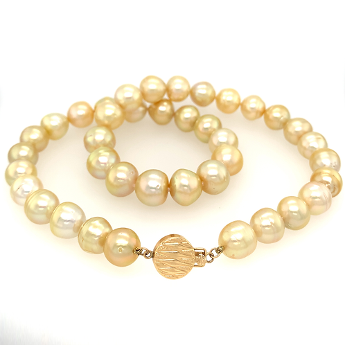 "17"" Golden Pearl Necklace with 14k Yellow Gold Clasp"