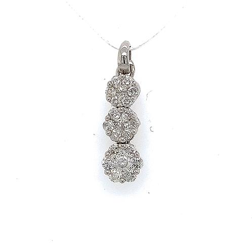Triple Diamond Flower Pendant, in 14k White Gold