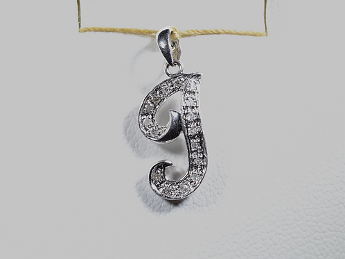 "Diamond ""J"" Pendant, Set in 10k White Gold"