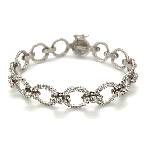 Pavé-set Diamond Bracelet, Set in 14k White Gold