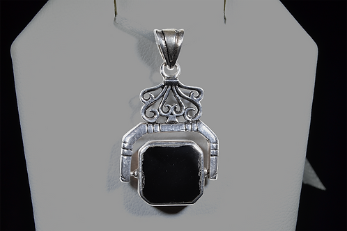 Sterling Silver Reversable Onyx & Mother of Pearl Pendant