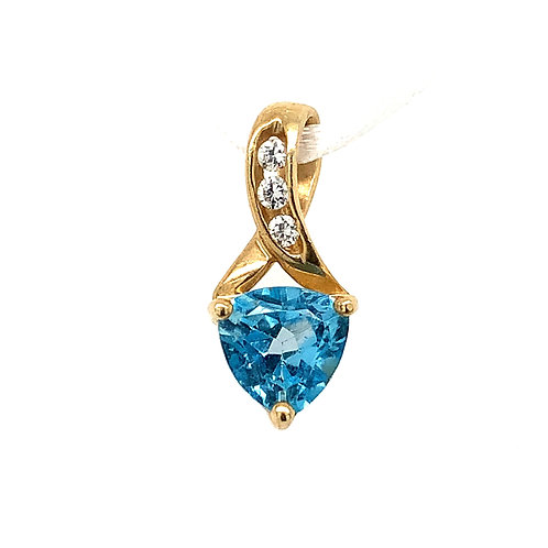 Blue Topaz Pendant with Cubic Zirconia in 10k Yellow Gold