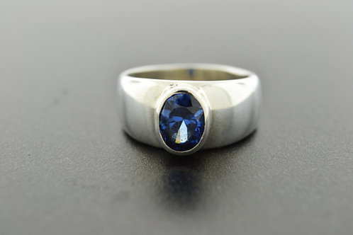 Blue Cubic Zirconia Ring, Set in Sterling Silver