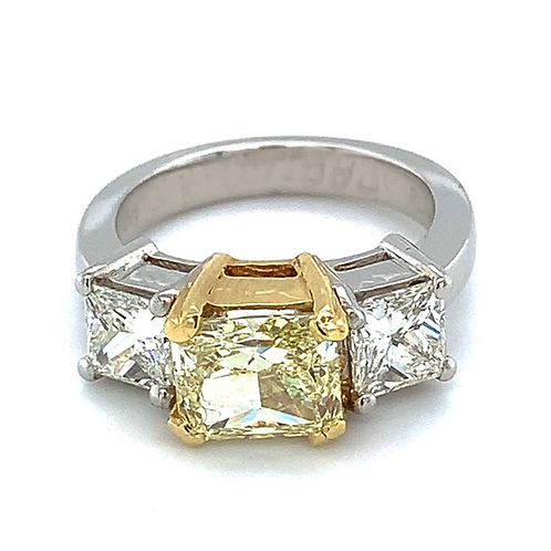 Platinum & 18k Natural Fancy 2ct Yellow Diamond Ring with 1.52ct Mounting