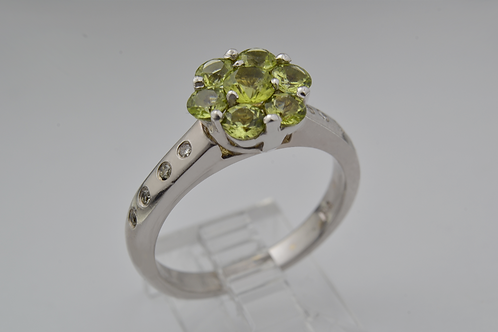 Flower Style Peridot and Diamond Ring in 14k White Gold