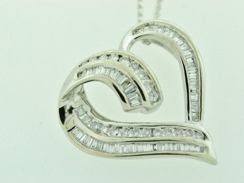 Floating Heart Pendant, Set in 14k White Gold