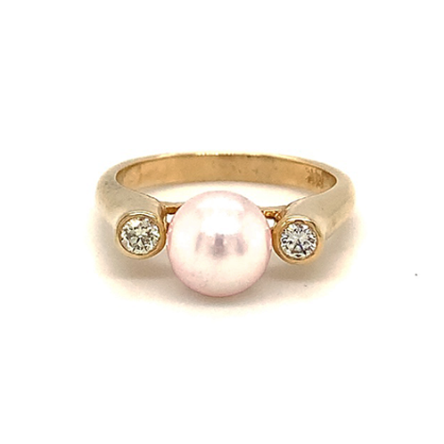 Light Pink Pearl and Diamond Ring, in 14k Yellow Gold
