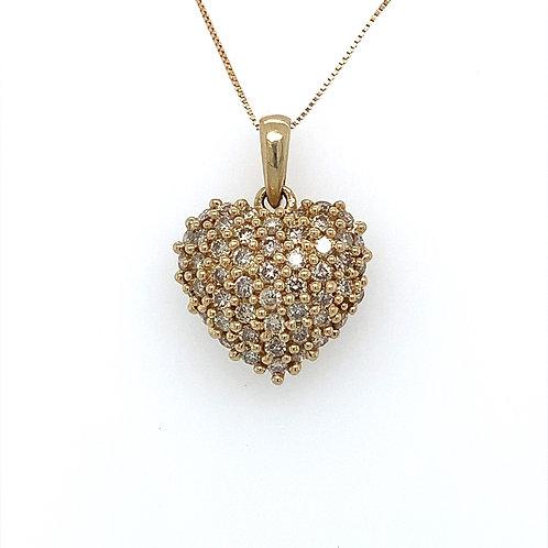 Diamond Heart Cluster Pendant, Set in 14k Yellow Gold