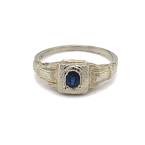 Antique Sapphire Ring in 18k White Gold