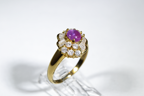 Star Ruby and Diamond Ring in 18k Yellow Gold
