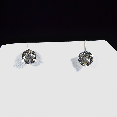 1.52CT Round Diamond Stud Earrings, in 14k White Gold