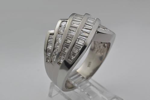 Baguette & Round-Cut Diamond Crossover Ring, in Platinum