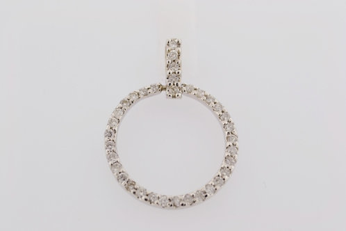 Diamond Open Circle Pendant, Set in 14k White Gold