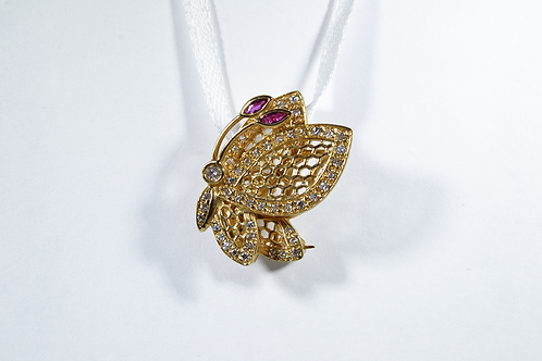 Ruby and Diamond Butterfly Brooch, Set in 14k Yellow Gold