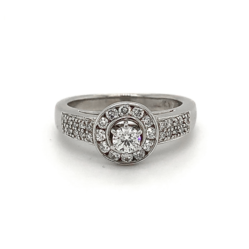 Halo Diamond Ring, in 14k White Gold