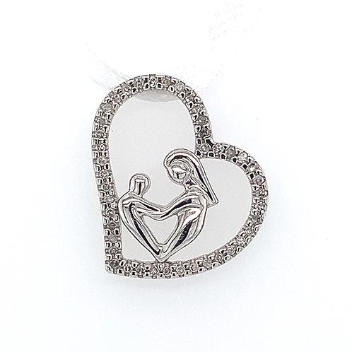 Mother & Child Diamond Heart Pendant, in 10k White Gold