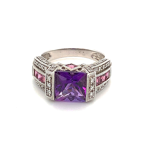 Amethyst and Sapphire Ring, Set in 14k White Gold