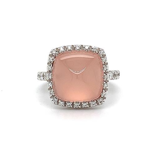 Rose Quartz and Diamond Ring, in 18k White Gold