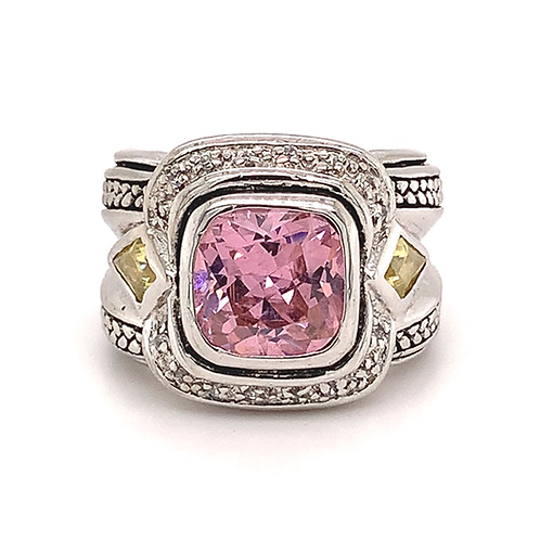 Sterling Silver Pink & Yellow Cubic Zirconia Ring with Diamond Accents