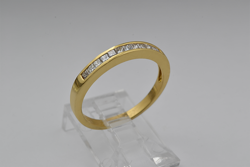 Princess Cut Channel Set Diamond Band, Set in 18K Yellow Gold