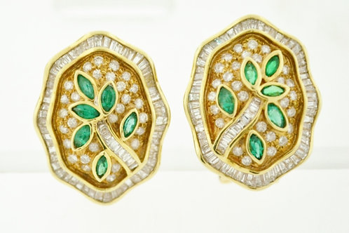 Emerald and Diamond Earrings, in 18k Yellow Gold