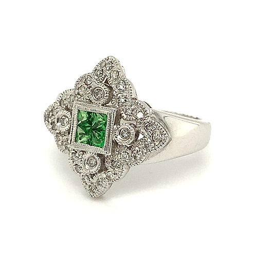 Green Garnet Ring with Diamond Accents, in 14k White Gold