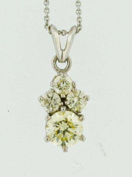 Diamond Cluster Pendant, Set in 14k White Gold