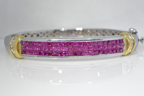 Ruby and Diamond Bangle, in 14k White Gold