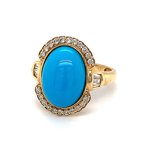 Sleeping Beauty Turquoise & Diamond Ring, in 14k Yellow Gold
