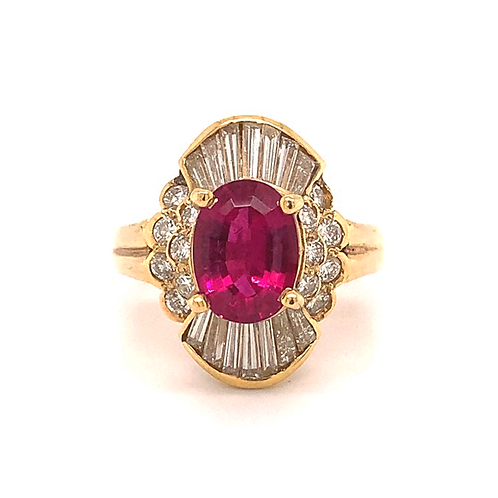 Handmade Tourmaline and Diamond Ring, in 18k Yellow Gold
