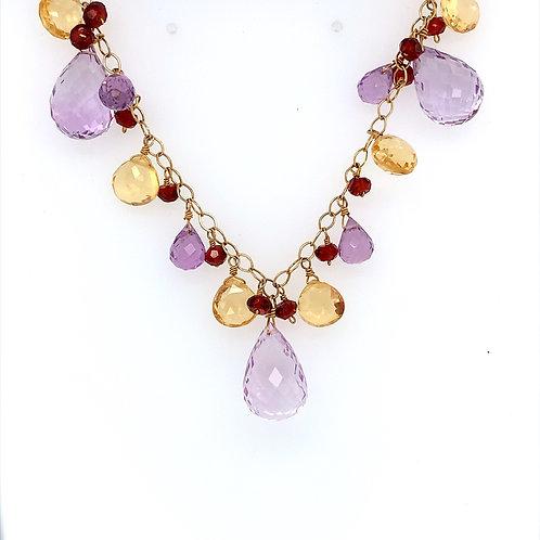 Amethyst, Citrine, Garnet Necklace, In 14K Yellow Gold