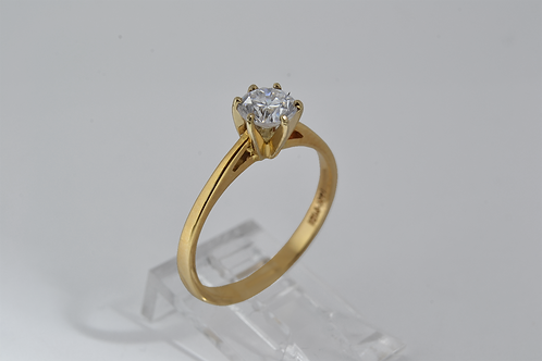 Round-Cut Diamond Engagement Ring, in 14k Yellow Gold