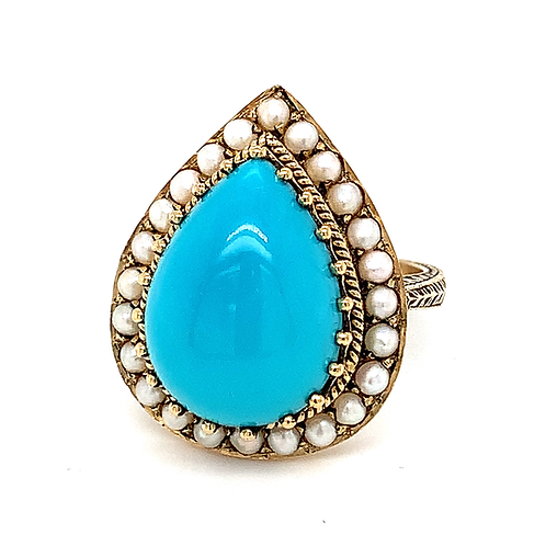 Heirloom Turquoise & Seed Pearl Ring