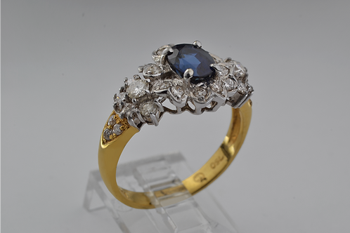 Blue Sapphire and Diamond Ring, Set in 18k Two Tone Gold