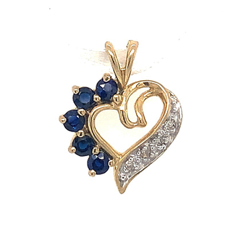 Diamond and Sapphire Heart Pendant, Set in 10k Yellow Gold